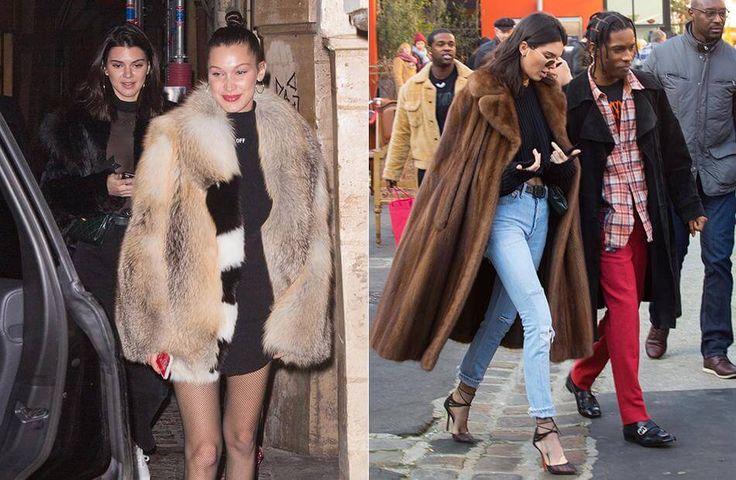 Kendall Jenner und Bella Hadid trugen zur Fashion Week Paris fette Pelzmäntel.