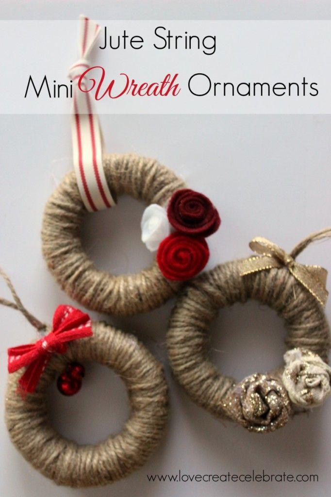 Jute String Mini Wreath Ornaments - Love Create Celebrate