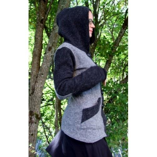 Grey and charcoal wool jacket