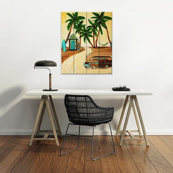 Wood Plank Wall Art for your office or home is a new creative way to display artwork. This is an artwork printed directly on wood planks. The artwork is an image from my beach and surf themed original painting: Whos Got the Woodie? This is perfect for a beach house, bathroom or surf style room. What is a Woodie Car? A woodie is a car body style with rear bodywork constructed of wood framework with infill wood panels. Originally, wood framework augmented the cars structure, where later models…