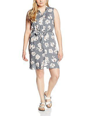 26, Grey (Grey Patterned), New Look Curves Women's Floral Shirt Sleeveless Dress