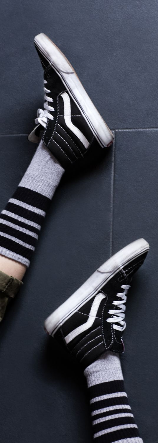 This fall make the classic black Vans Sk8-Hi your fashion staple, paired with fun striped socks and loose fit boyfriend jeans. Shop Sk8-Hi's and other seasonal must-haves now.