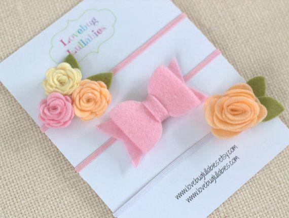 Felt Flower Headband or Hair Clips Set of 3 in Peach Pink & Cream for Baby Newborn Child Toddler Flower Girl Adult