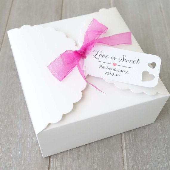 10x Personalised Wedding Favour Bo Cake Slice By Flavourbox