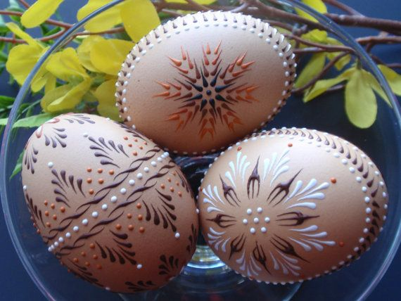 Easter Eggs Pysanky, Set of 3 Decorated Brown Chicken Eggs. These are wax embossed. The delicate designs are beautiful against the natural brown of the shell.
