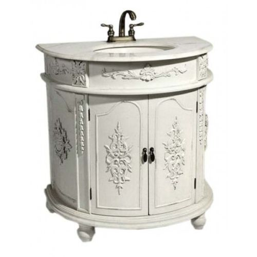 Antique white shabby chic french bathroom vanity unit sink drawers basement pinterest for Antique bathroom vanity units