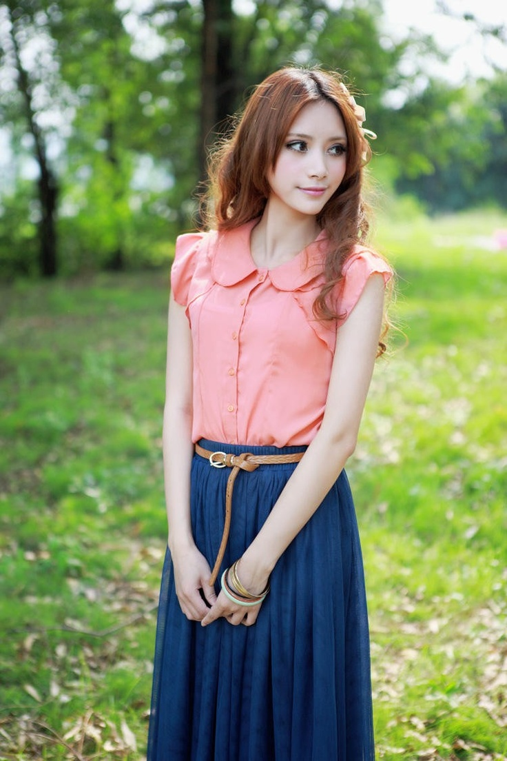 Blue Delicate Maxi Long Korean Fashion Summer 2012/13 Skirt