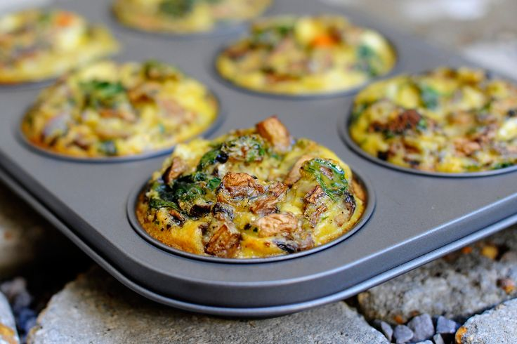 Paleo on the go breakfast. make them all sorts of ways (kale and bacon, leeks and sausage, spinach and sun dried tomatoes. Make them Sunday, they keep well for your work weeks worth of breakfast on the go.