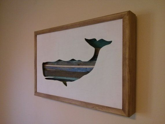 Whale Silhouette 17 by 11 by Derrierelesbois on Etsy