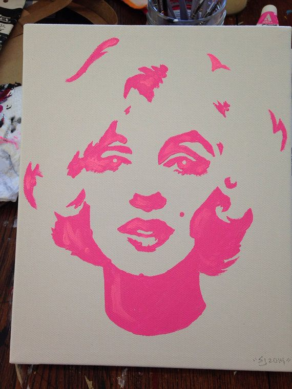 Marilyn Monroe painting from hand made stencil by artofsarahjane