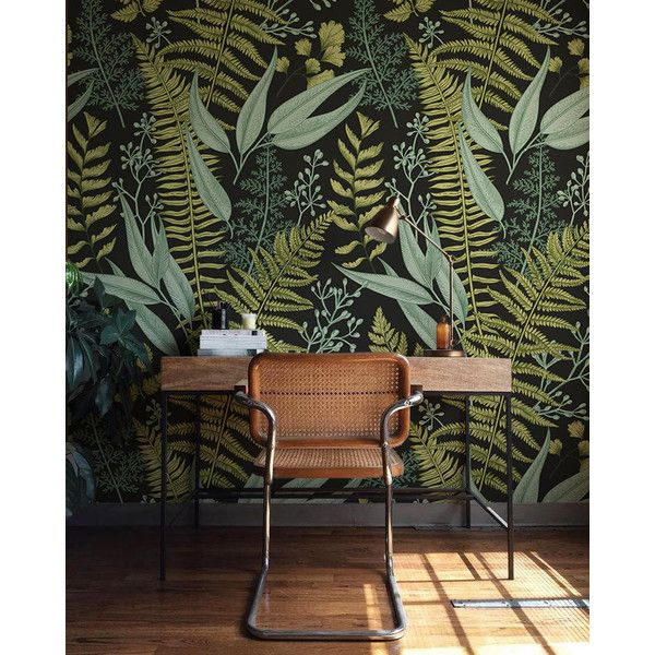 Removable Wallpaper 64 Liked On Polyvore Featuring Home Home Decor Wallpaper Plain Green Wallpaper Gre Green Home Decor Wall Murals Diy Fern Wallpaper