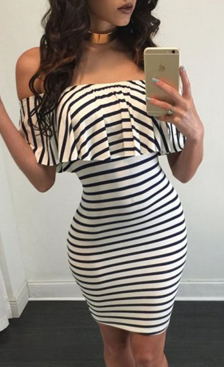 $19.99 Black White Striped Off-shoulder Bodycon Dress