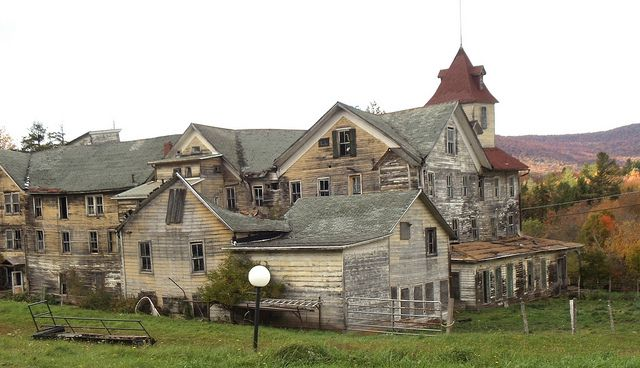 """""""Cold Spring House"""" -- [Another view of this abandoned hotel located in *Tannersville, Greene County, New York, New York.*]~[Photograph by JuneNY (Carolyn) - October 1 2012]'h4d-189.2013'"""