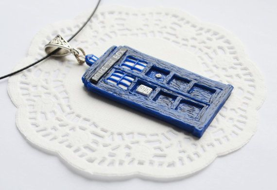 Polymer Clay Tardis Pendant_Hand made Tardis pendant_Doctor Who pendant_Doctor who jewelry_gift for her_blue police box pendant