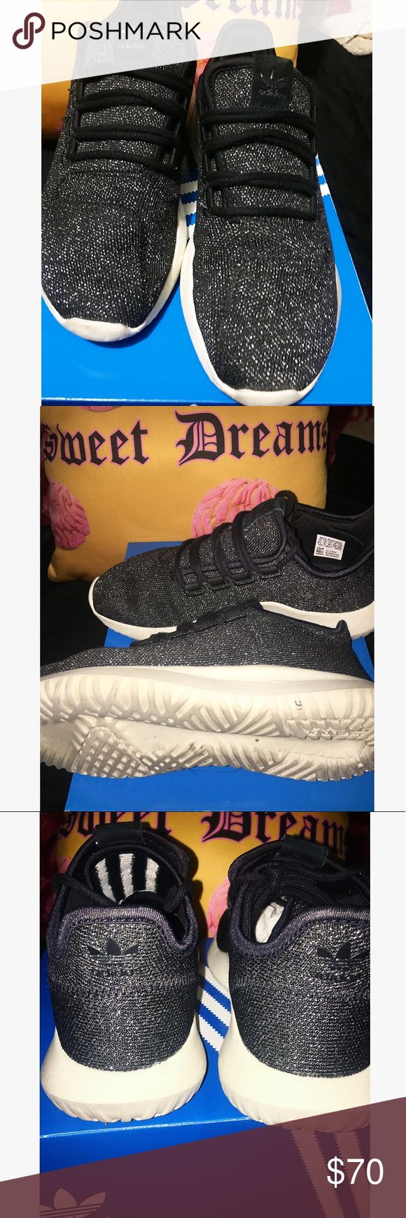 Adidas (Tubular) Shadow Used. Great condition still. Black with shimmer. So comfortable and worth getting. Havent worn them for long, only about a month. All i need to do before ship is whiten and clean the outersole for you :)  I got tired of the color adidas Shoes Athletic Shoes
