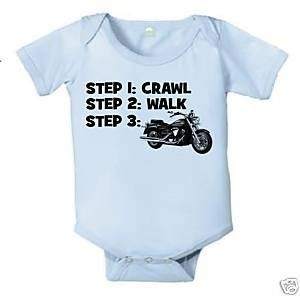 CRAWL WALK MOTORCYCLE HARLEY BABY INFANT BODYSUIT BOY BIKE | KoolKidzClothing - Clothing on ArtFire
