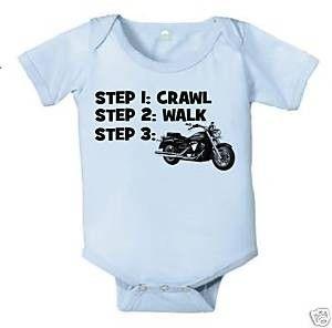CRAWL WALK MOTORCYCLE HARLEY BABY INFANT BODYSUIT BOY BIKE   KoolKidzClothing - Clothing on ArtFire