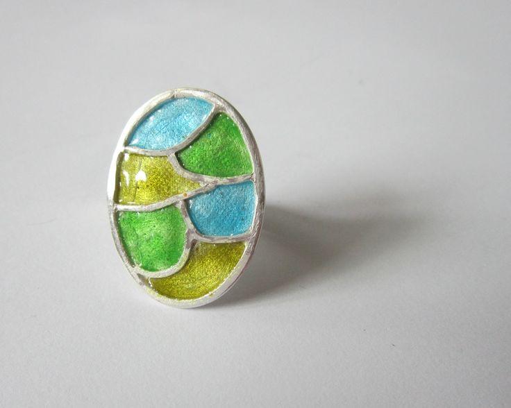 Ring, enamel, Art Clay Silver, by Cris Briz