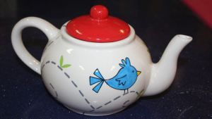 birds in blue teapot painting class at Half Baked Pottery