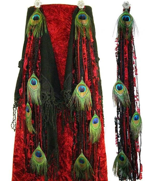 Red Passion Peacock Feather Hip & Hair Tassels - www.magic-tribal-hair.com - accessorize your gothic belly dance costume!