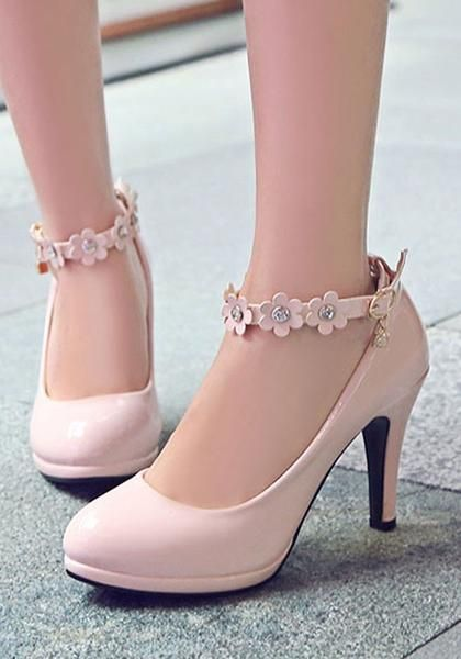 Pink Round Toe Stiletto Flower Patchwork Sweet High-Heeled Shoes