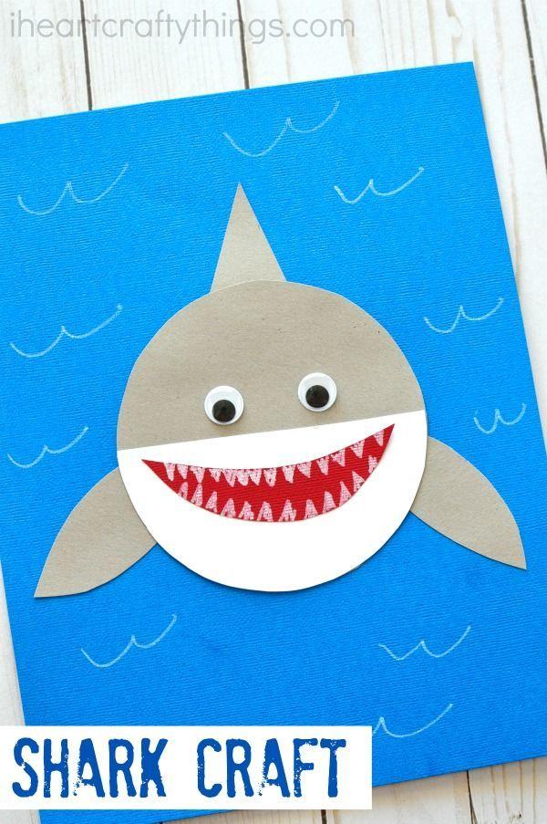 Hier ist ein einfaches und niedliches Papier Hai-Handwerk Kinder lieben