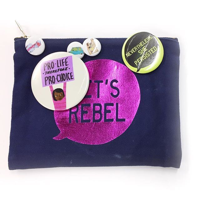 This bag is clearly well loved and very opinionated. Local artist (who we stock!) @aobcreates came in the other day with her Let's Rebel #harlanruby zipper bag.  It's so heart-warming to see the goods we create appreciated, especially by female creatives we admire 🙌 #harlanruby #letsrebel #neverthelessshepersisted