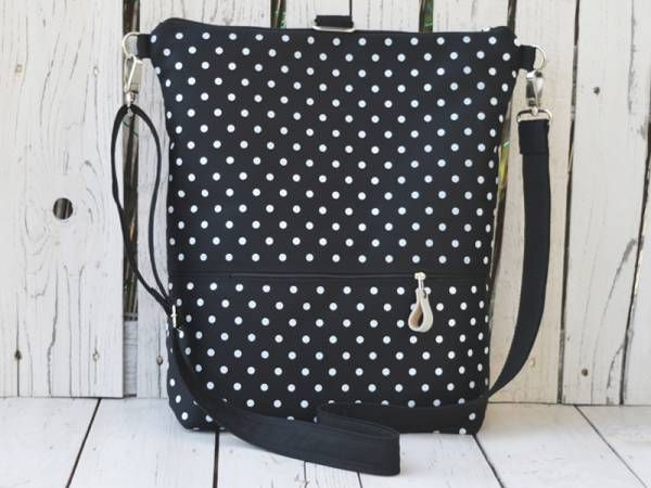 Handmade Canvas Backpack - White Polka dots Design