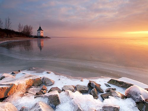 Morning Glow ~ Liptovska Mara reservoir, Liptov, Slovakia by Martin Sojka, via Flickr
