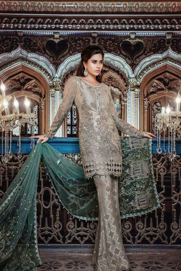 51450d6d8b Indian Asian Chiffon Dress by MARIA B in Silver Gold Color with Threads  Embroidery and Sequence Work Online. Beautiful Chiffon Dress by Maria B in  Silver ...