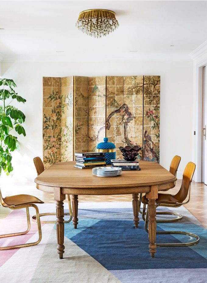 Interior Design by Carmen Rebuelta Photo Pablo Sarabia, Hearst Magazine. Nuevo Estilo April´s 16 issue Vintage decoration, chinese folding screen, interior plants, murano lamp, Paul Smith for The Rug Company, BSB, interior atrezzo stylist, wooden tables, dining room