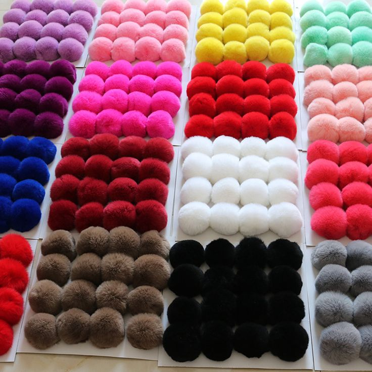 20Colors Real Fur Ball 6cm Pompom Keychain Car pompons Rabbit Fur Ball Keychain Fur Brand Pompons DIY Bag Charms With Ponpon -- Find similar products by clicking the VISIT button