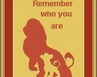 Cross Stitch Pattern Disney cartoon Silhouettes lions Lion King Remember who you are Cross Stitch Pattern/Instant Download Epattern PDF File