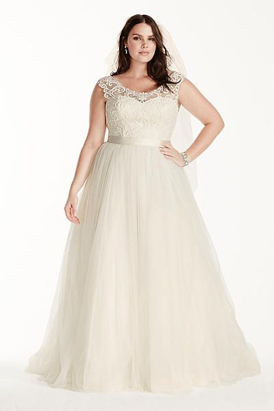 Tulle Plus Size Wedding Dress with Lace Cap Sleeve 9WG3741
