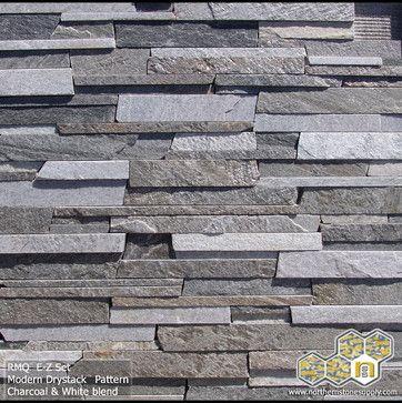 Exterior Stone with Dark gray blue sliding?E-Z Set™ Natural Stone Veneer - stacked stone
