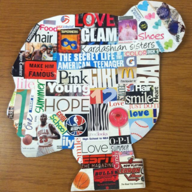 Silhouette collage art lesson: students used flashlights to trace each other's silhouette. After cutting them out, the covered them with magazine clipping that described their personalities and interests.