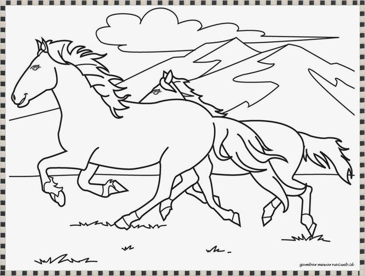 gambar mewarnai kuda liar berlari
