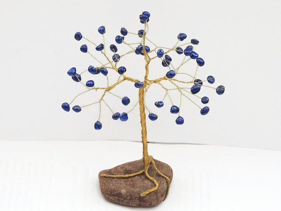 Gemini June birthstone, Unique baby gift, Blue Freshwater Pearls Wire tree, wire tree sculpture, tree of life, baby room decor, beaded tree