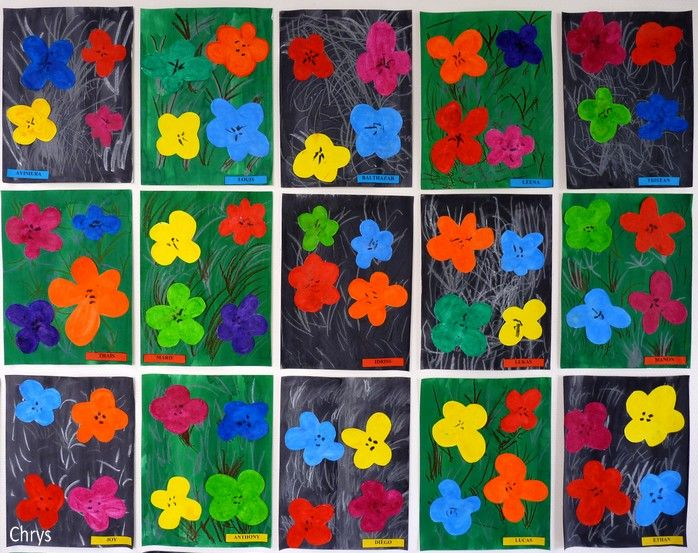 Andy Warhol a fleuri notre classe!         INSPIRATION                          Voici les étapes de la réalisation:     Ma classe est divi...