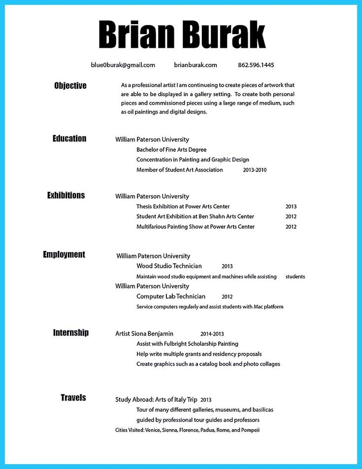 Art Resume Templates Artist Resume Sample Writing Guide Resume