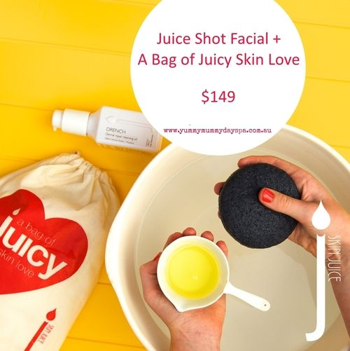 JUICE SHOT FACIAL + A BAG OF JUICY SKIN LOVE  $149.00 Enjoy a JUICE SHOT Facial which targets any skin condition with a super burst of cleansing, exfoliation, moisture and treatment mask for those on the go. A perfect pick-me-up.   PLUS get a Bag of Juicy Skin from Skin Juice! Includes a pure white Konjac Sponge for squishy face cleaning awesomeness and skin-quenching DRENCH Cleansing Oil.   Get it now for only $149!