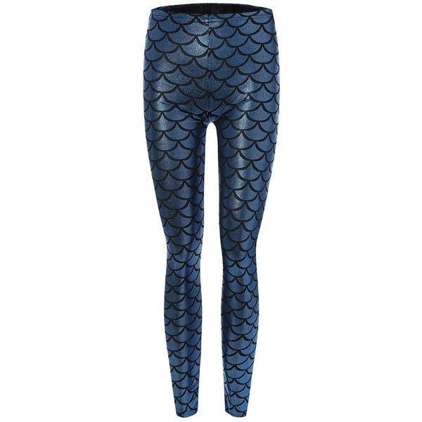 Skinny Mermaid Leggings (715 MKD) ❤ liked on Polyvore featuring pants, leggings, blue leggings, skinny leg pants, skinny trousers, skinny fit pants and super skinny pants