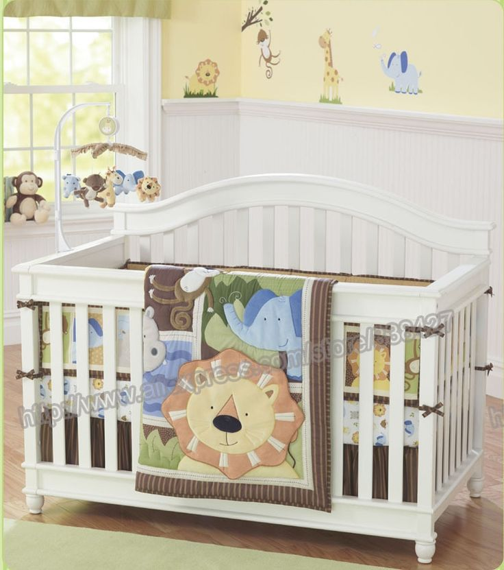 260.00$  Buy here - http://alicil.worldwells.pw/go.php?t=32782474411 - 7 pieces Lovely baby cot bedding set 3D Africa lion baby bed cot sheets cuna baby bumper bed skirt bed mattress included