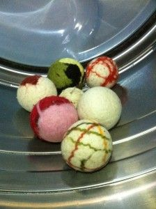 wool dryer balls that naturally soften your clothes, combat static cling and cut dry time significantly.