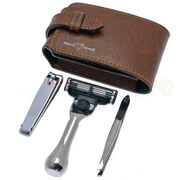 Edwin Jagger travel shaving set in a Black leather case  #ShavingRazorsandBrushesCases