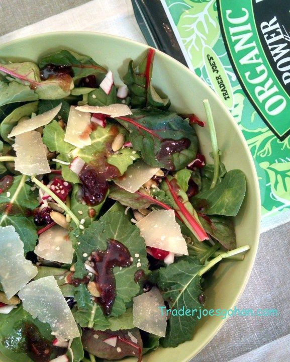 簡単クランベリーソースビネグレット サラダドレッシング レシピ Trader Joe's Organic Power to the Greens 5oz/142g $1.99 トレーダージョーズ オーガニック パワーグリーン サラダミックス