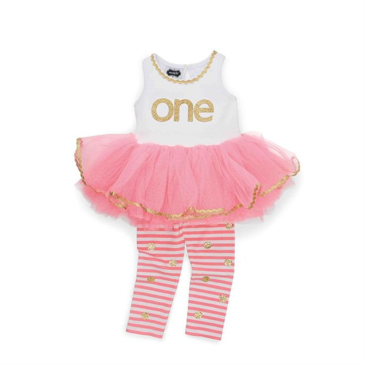 2-piece set. Cotton tank features glitter applique with ric-rac and mesh skirt. Comes with printed glitter dot leggings. #MudPieGift