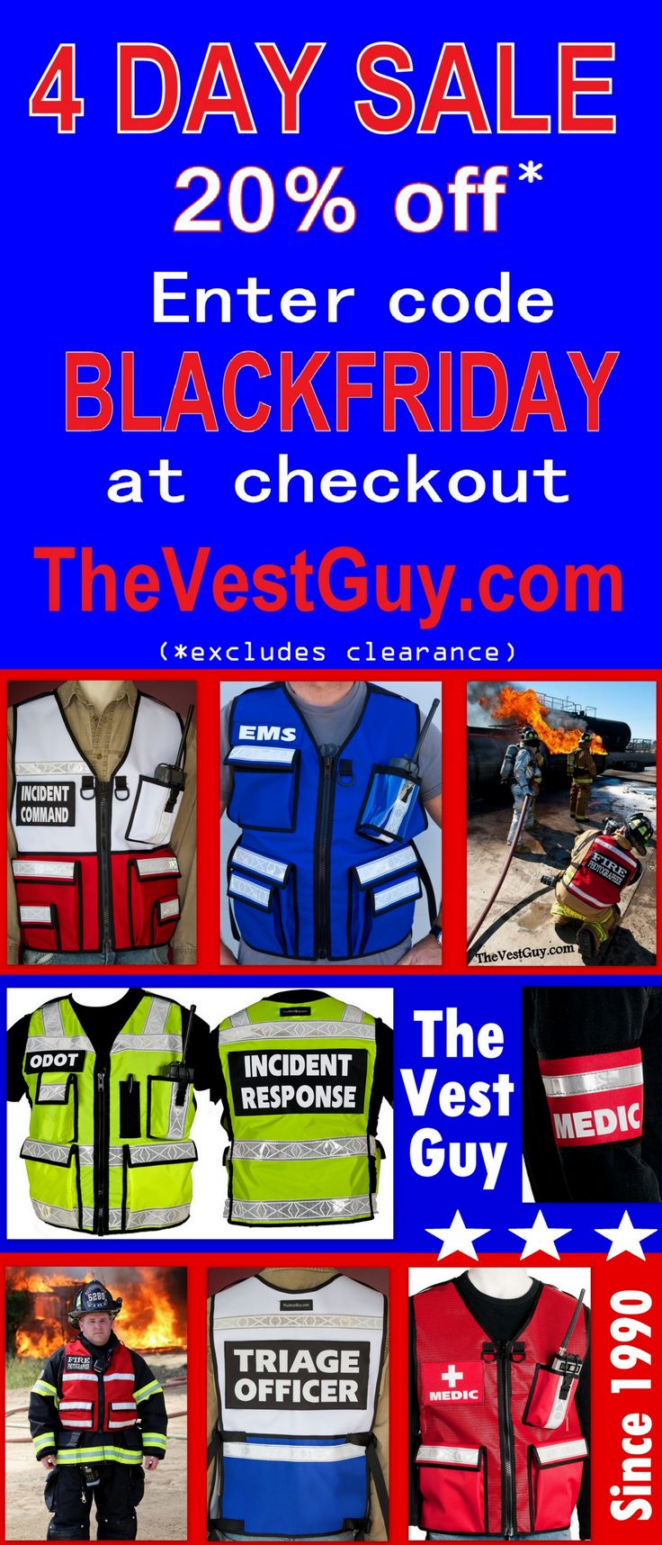 From armbands, safety reflective vests, photography vest, camera and shooter bean bags, P90 slings, and more, visit TheVestGuy.com and save 20%. Black Friday, Small Business Saturday, and Cyber Monday 4 day sales. Buy Made in America
