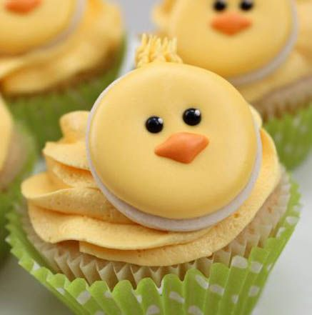 Cute Little Chick Cookie Cupcakes. Make these cuties for Easter! Book a Bake Home Party and we will show you how! Bake has: Royal icing, gel colors, piping bags and tips, buttercream, premium cake mix, cupcake liners and round cutters