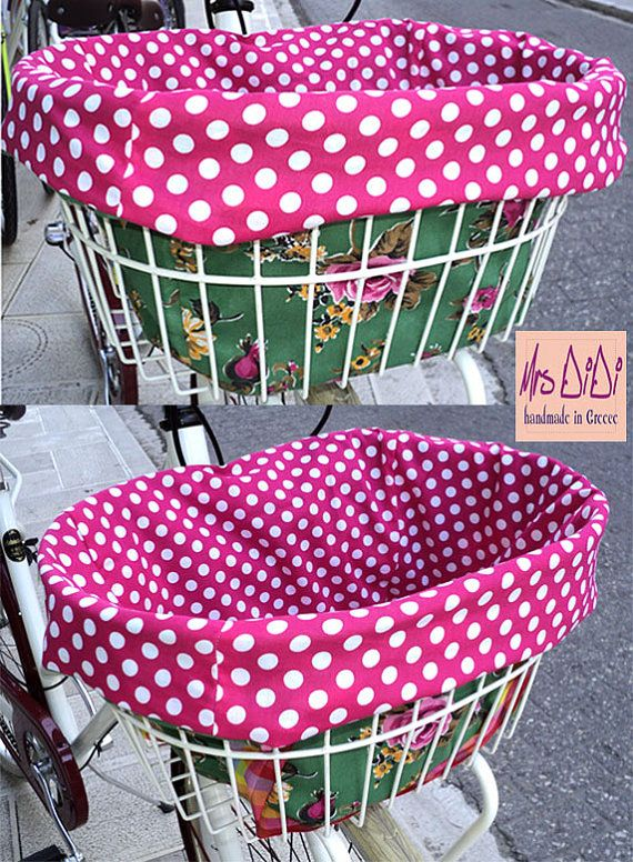 Polka Dot Reversible Bike Basket Liner  by MrsDiDiCraftShop, €27.00